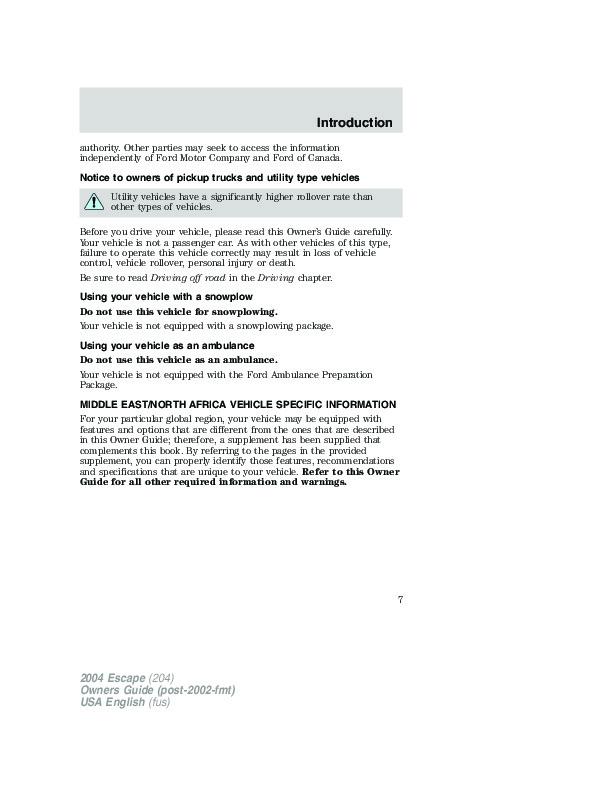 2004 ford escape owners manual. Black Bedroom Furniture Sets. Home Design Ideas
