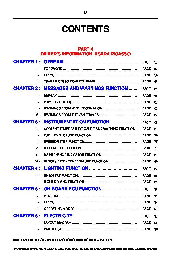 Citro n Picasso Xsara Technical Training Multiplexed BSI